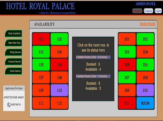 Project Two - Hotel Royal Palace (Restaurant Booking and Bill generation System)