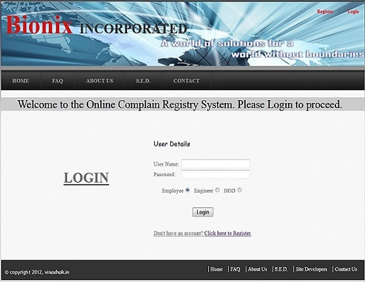 Bionix Incorporated (An Online Complaint Registry System)